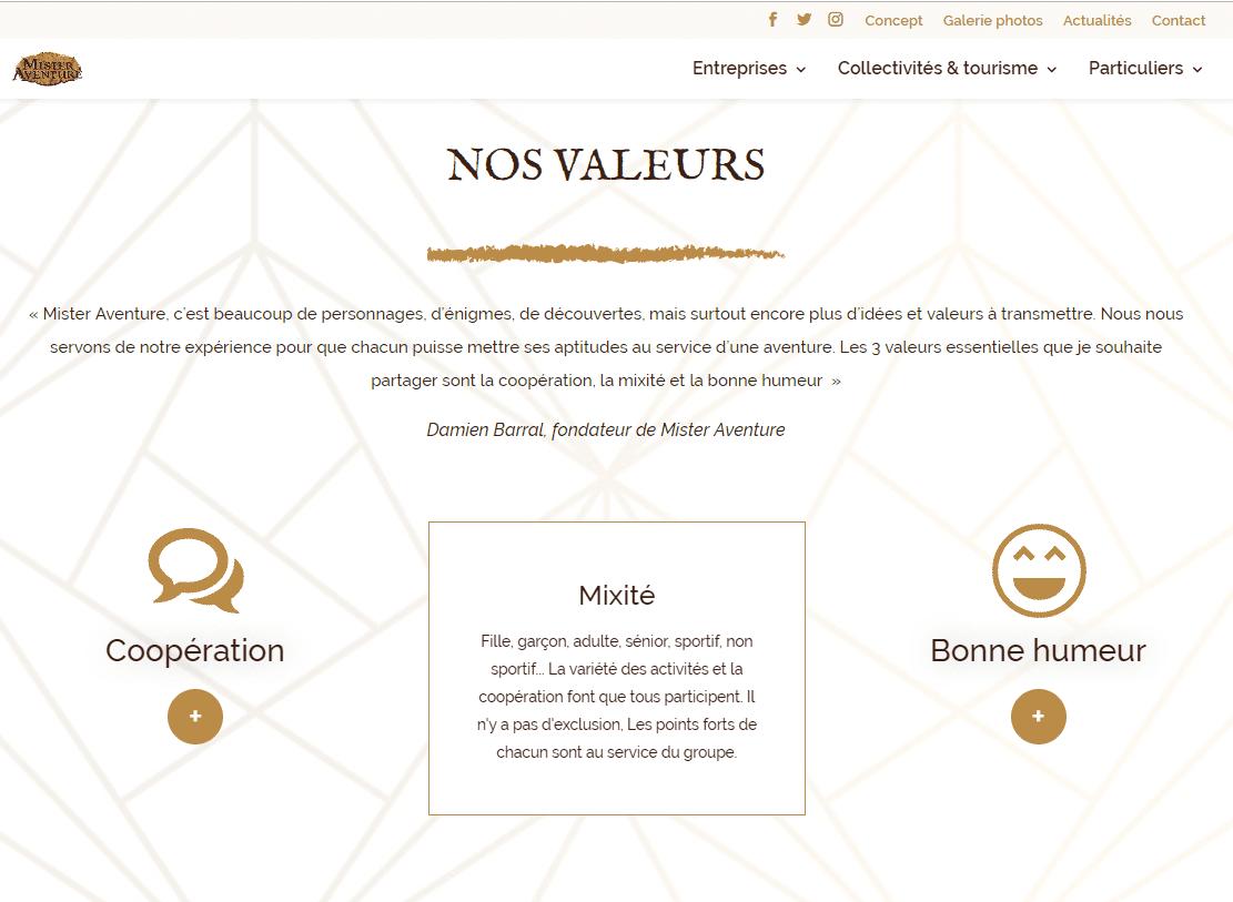 nos valeurs site mister aventure