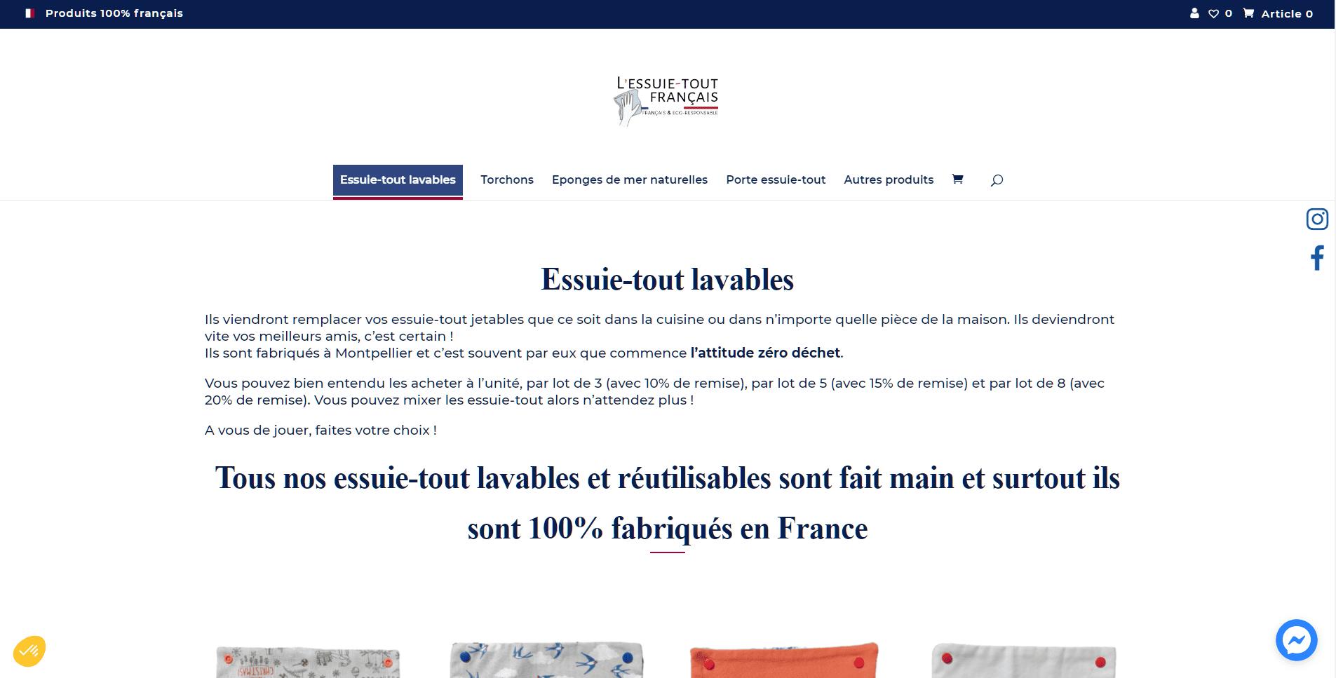 Création de site internet L'Essuie-tout Français - Webylo
